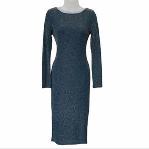 TOPSHOP Dark Teal Gold Fitted Midi Dress Size 8